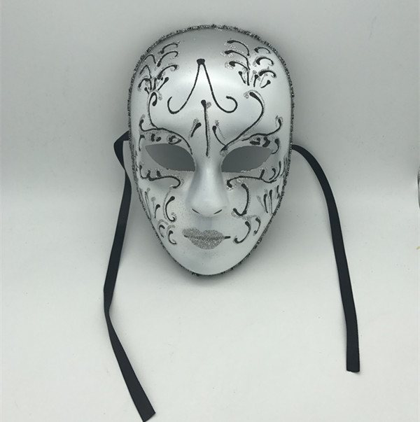 Venetian Mask Mardi Gras Mask White Sliver Glitter Full Face Mask