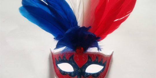 Patriot Mask Blue Red White Mask with Feathers America Themed Party
