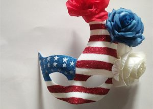 Patriot American Flag Patriotic Glitter Mask W Red Blue White Flower