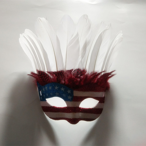 Masquerade Mask Blue Red White Masks with Feater