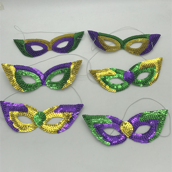 Buy 6 Styles Assorted Cat Eye Sequin Mask for Mardi Gras Masquerade Mask