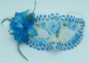 Happy New Year Masquerade Mask Blue Acrylic Flower Mask