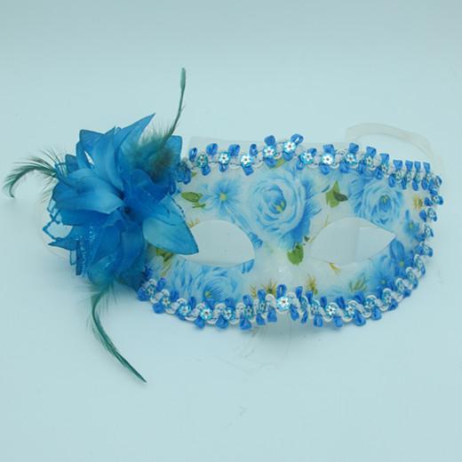 Happy New Year Masquerade Mask Blue Acrylic Flower Mask
