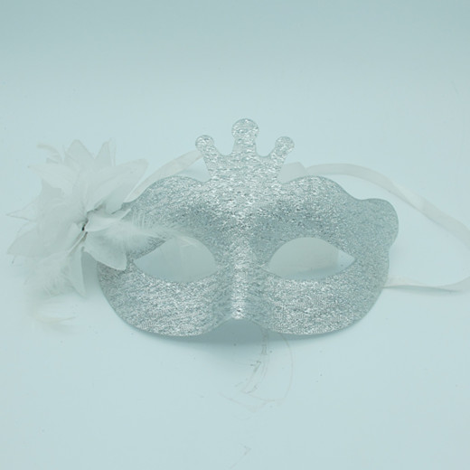Acylic Glitter Sliver Masquerade Masks Costume Mask with Flowers