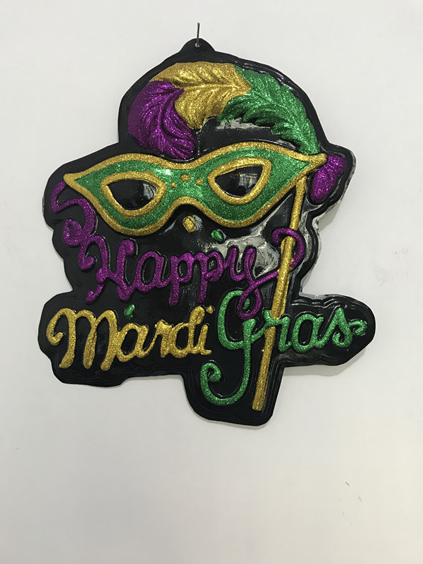 20 X 19 Happy Mardi Gras Sign Mask Deco Outdoor Wall Decoration