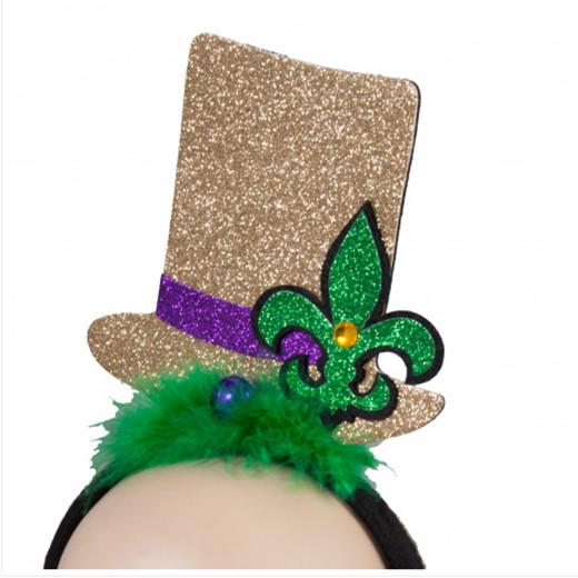Mardi Gras Glitter Top Hat Headband For Mardi Gras Party