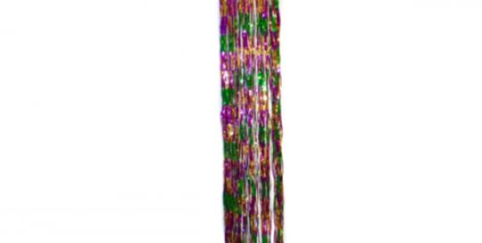 Purple Green Gold Tinsel Spiral Column Mardi Gras