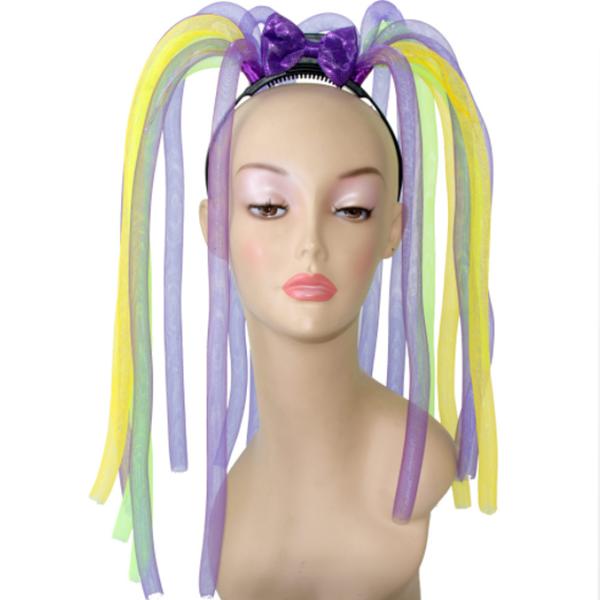 Light Up Mardi Gras Mesh Tubes Headband