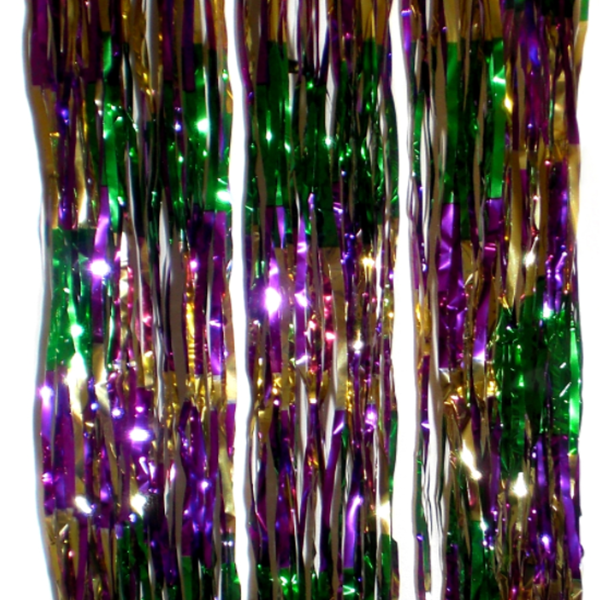 Purple Green Gold Tinsel Spiral Column Mardi Gras