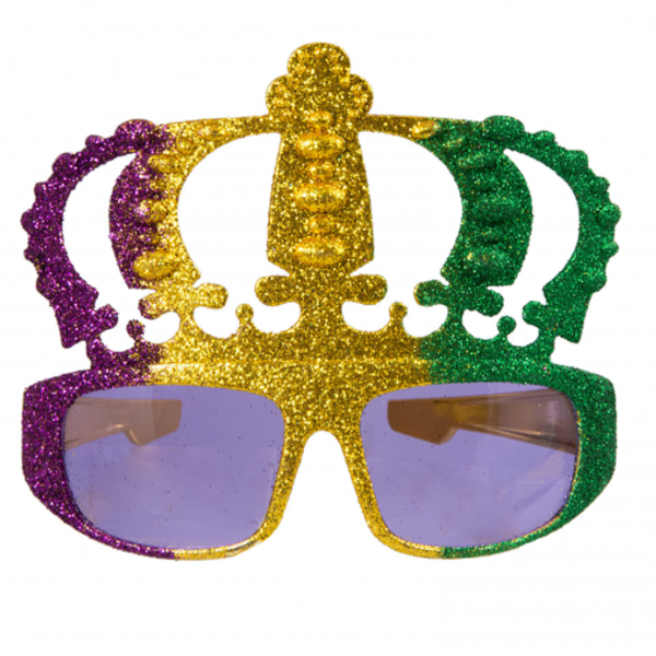 Metallic Glitter Mardi Gras Crown Sunglasses For Mardi Gras Party