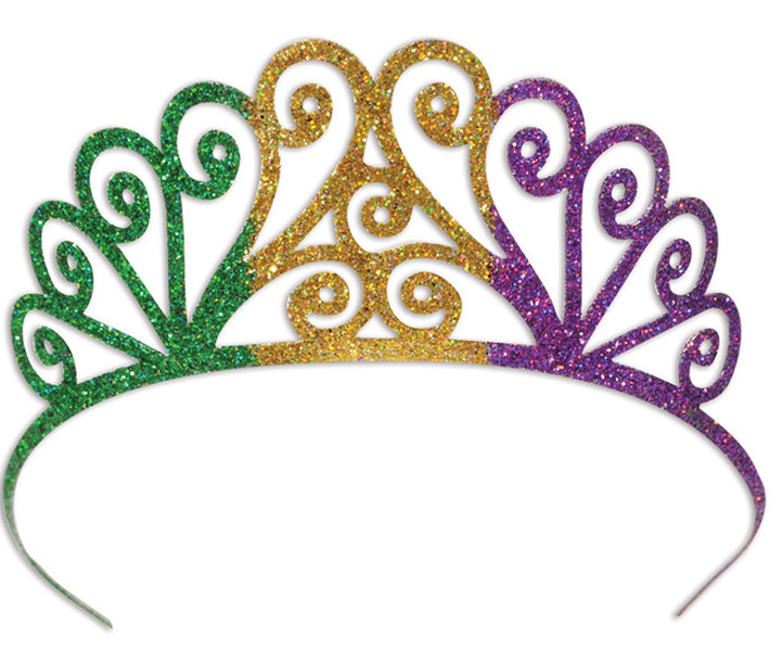 Glittered Metal Mardi Gras Tiara, Green/Gold/Purple