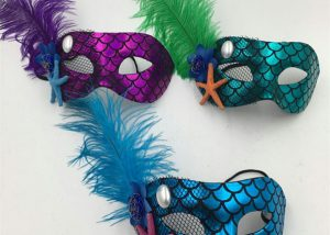 Venetian Masks Blue Green Purple Mask Shinny Mask with Feather
