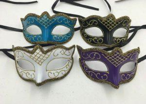 Masquerade Ball Masks White Black Purple Blue Glitter Masks