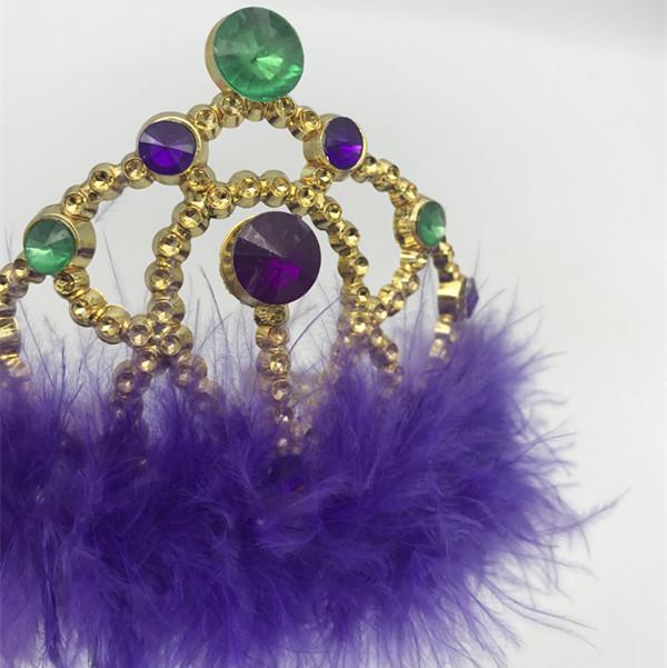 Mardi Gras Glitter Tiara w Purple Marabou Trim