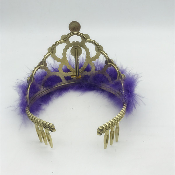 Mardi Gras Glitter Tiara w Purple Marabou Trim For Mardi Gras