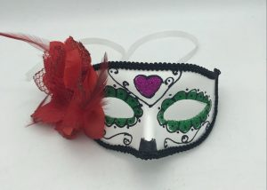 Purple Green and Black Day of The Dead Half Mask