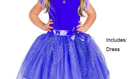 Child Blue Princess Costume Dress Glitter Child Dress