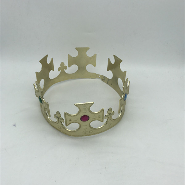 Gold King Crown Tiara with Jewels