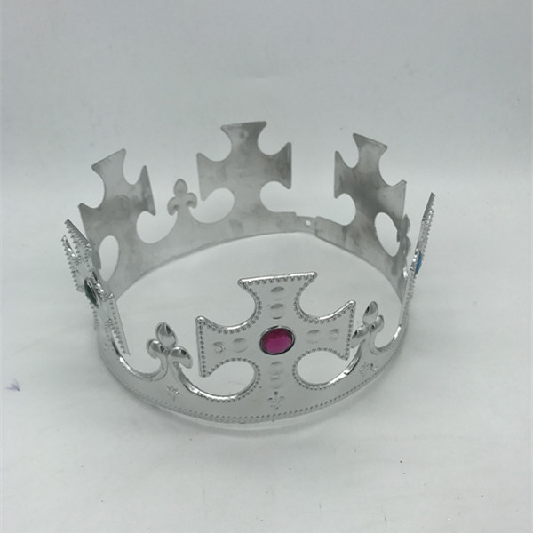 Sliver  King Crown Tiara with Jewels