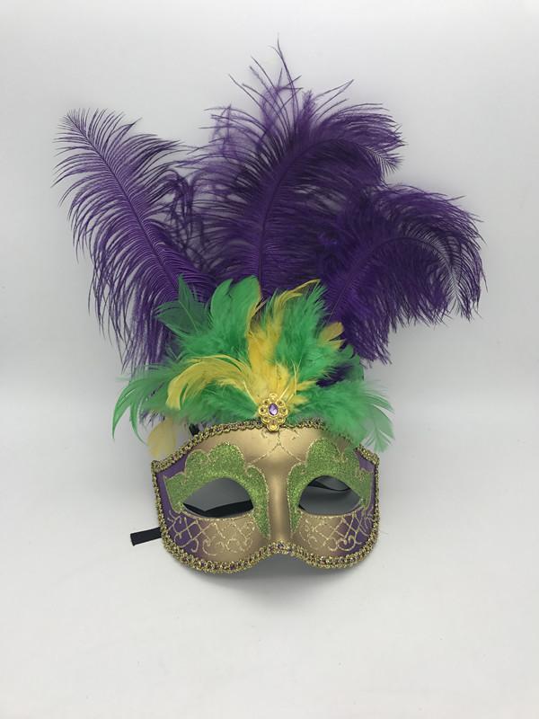 Mardi Gras Party Dress Purple Green Gold Feather Eye Mask