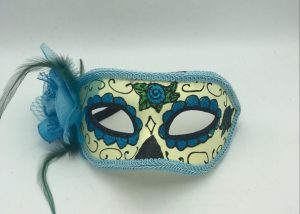 Blue Black and Green Day of The Dead Glitter Half Mask