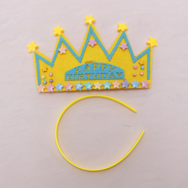 Yellow Happy Birthday Party Star Crown Star Headband