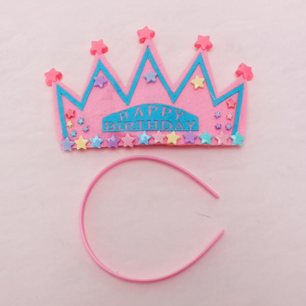Pink Happy Birthday Party Star Crown Star Headband