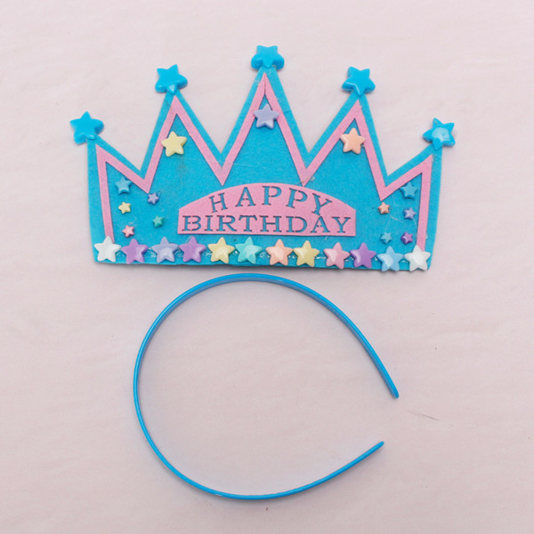 Blue Happy Birthday Party Star Crown Star Headband