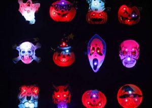 LED Flashing Lighting Halloween Badge Pin Light Up Badge