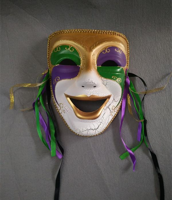 Mardi Gras Purple Green Gold Comedy Glitter Full Mask
