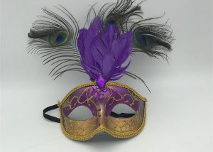 Purple Gold Glitter Mardi Gras Mask W Peacock Feather