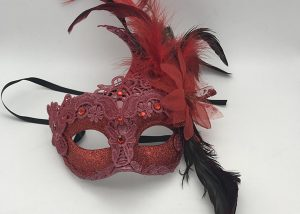 Red Masquerade Lace Mask with Long Feathers