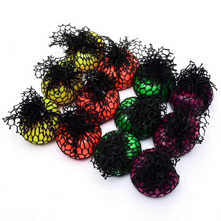 4 Color Grape Stress Mesh Squish Ball For Child Adult Play Toy