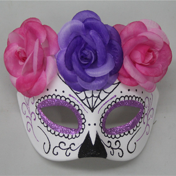 Day of The Dead Pink Blue Glitter Mexican Skull Mask