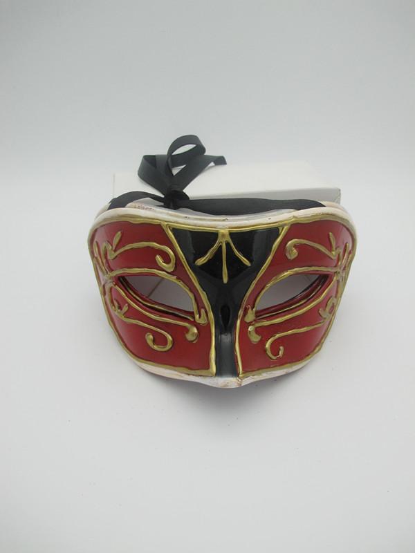 Red Black Antique Men Masquerade Mask
