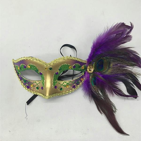 Mardi Gras Purple Green Gold Glitter Jewel Peacock Mask