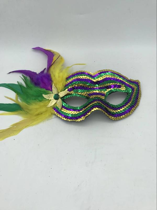 Mardi Gras Green Gold Purple Sequin Masquerade Costume Mask