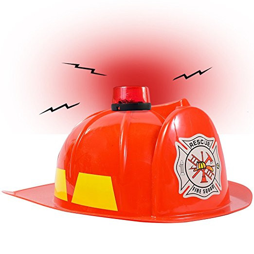 Fireman Helmet Flashing Red Light with Siren