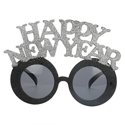 2018 Black Sliver Glitter Happy New Year Glasses
