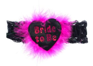 "Hen Party Feather Garters Black Sash with Rose Pink ""Bride To Be"""