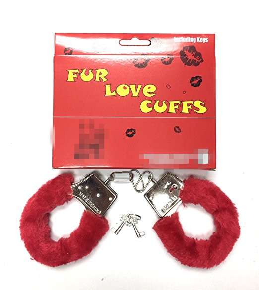 Red Furry Play Handcuffs Metal for Hen Party