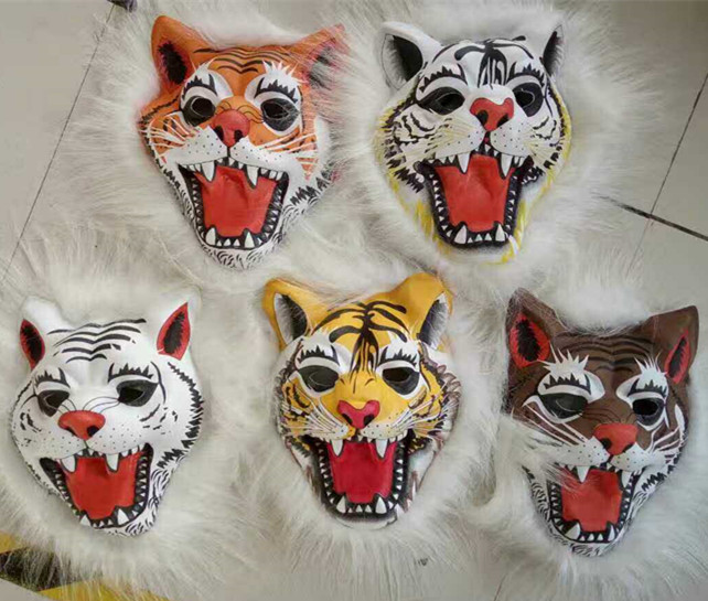 Full Head Animal Masks-Tiger Costume Masks with Plush