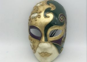 PGG Masks Full Face Mardi Gras Masks Hand Painted with Metallic Gold