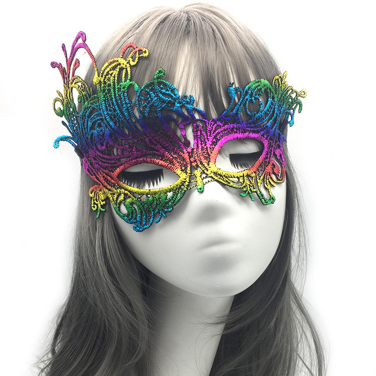 Model Picture-Colorful Lace Phonex Mask