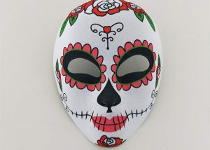Flowered Patterned Multicolor Day Of The Dead Party Mask