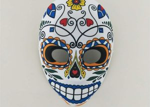 Womens Day of the Dead Mexican Full Face Sugar Skull Flower Mask