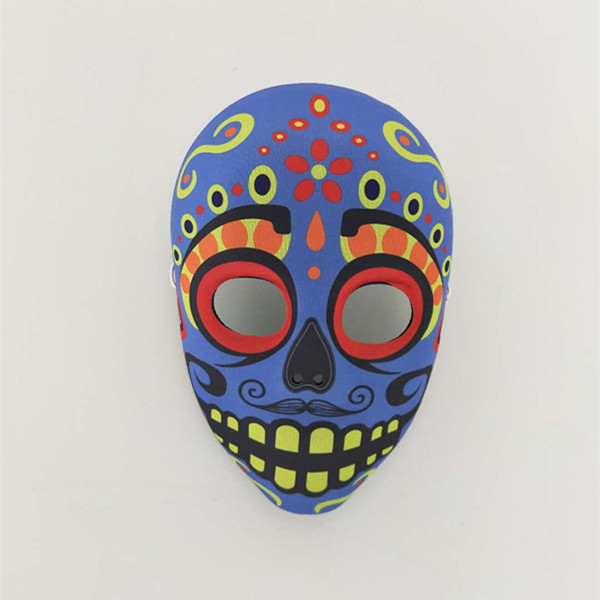 Prominent Blue With Yellow Dots Scary Day Of The Dead Costume Mask