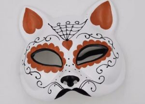 Orange, White Cat Half Face Mask Gato Muerto Sugar Skull Cat Mask
