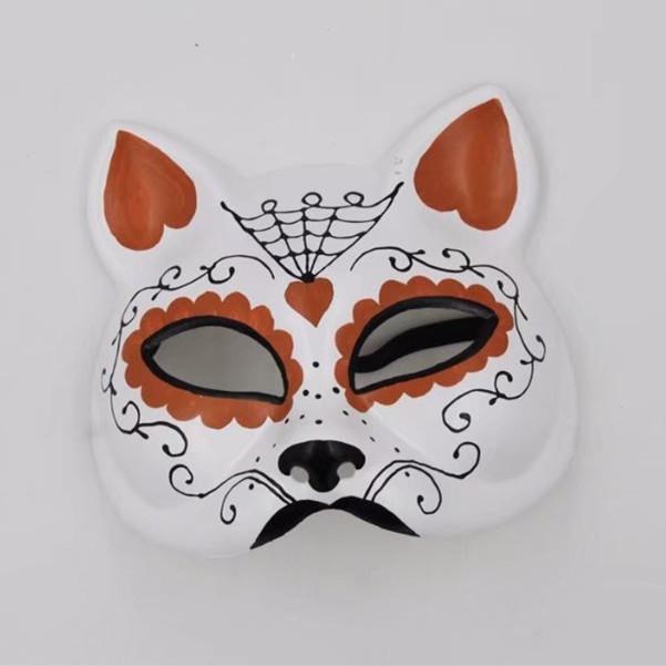 Orange, White Cat Half Face Mask Gato Muerto Sugar Skull Cat Mask