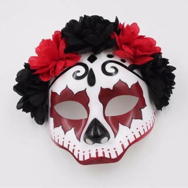 Red Senorita Flowers Mexican Skull Women Female Mask